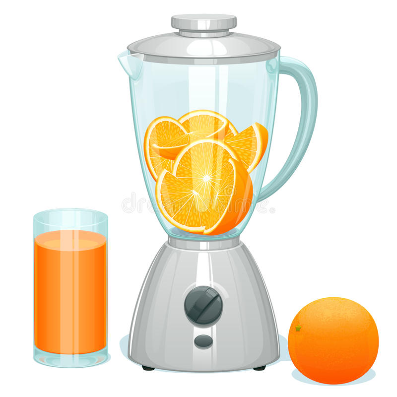 fresh cut ripe oranges in a glass bowl of the blender royalty free illustration