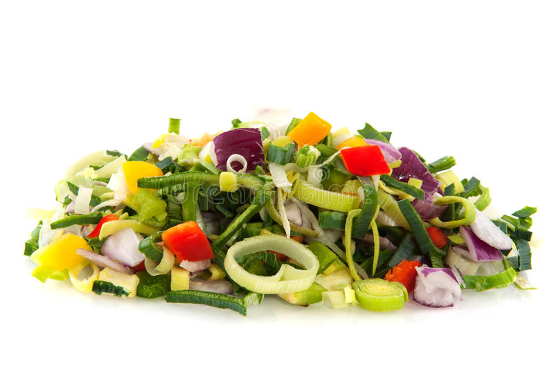 Fresh cut vegetables royalty free stock photos