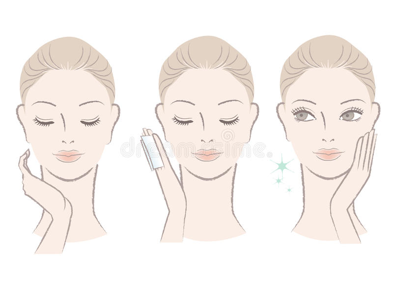 Fresh cute woman applying facial lotion stock illustration