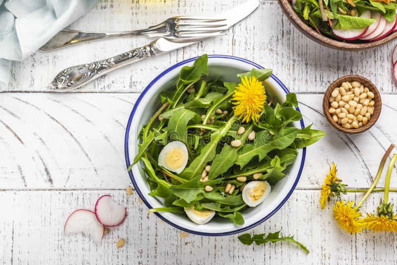 Fresh dandelion salad stock photography