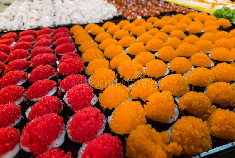 Fresh and delicious assorted Sushi and rolls stock image