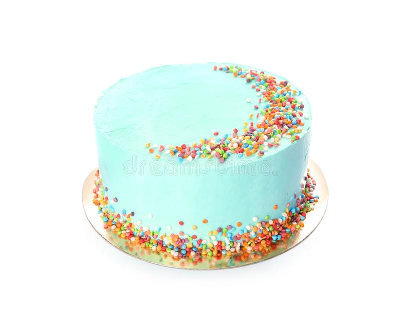 Fresh delicious birthday cake on white background stock images