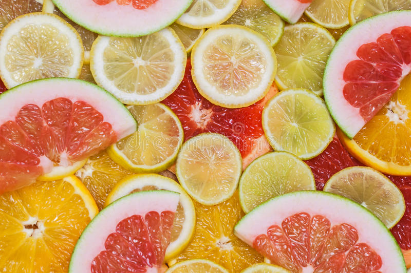 Fresh delicious colorful slices of citrus. Healthy eating, diet, vitamins stock images