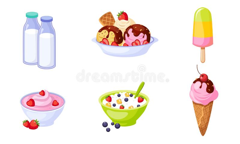 Fresh Delicious Dairy Products Set, Bottles of Milk, Ice Cream, Popsicle, Cottage Cheese Vector Illustration. On White Background royalty free illustration