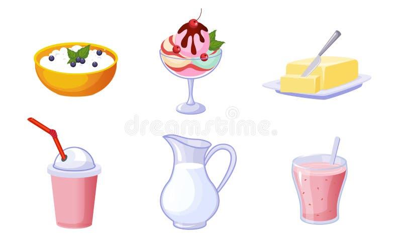 Fresh Delicious Dairy Products Set, Milk, Ice Cream, Milkshake, Cottage Cheese, Butter, Yogurt Vector Illustration. On White Background stock illustration