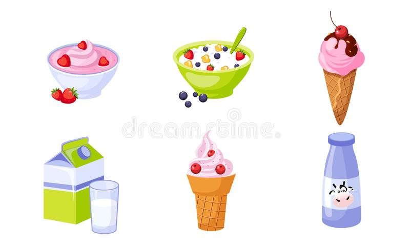 Fresh Delicious Dairy Products Set, Packaging of Milk, Ice Cream, Cottage Cheese Vector Illustration. On White Background vector illustration