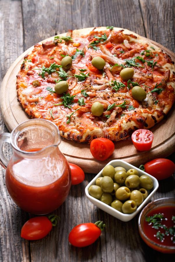 Fresh delicious gourmet pizza royalty free stock images