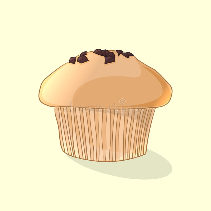 Fresh delicious muffin, chocolate chip cookie. Vector illustration stock illustration