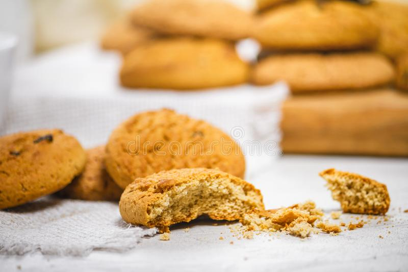 Fresh delicious oatmeal cookies and milk for breakfast royalty free stock photos