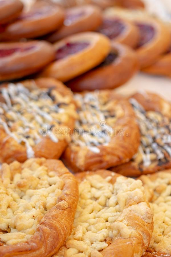 Fresh, delicious pastries. Confectionery products on the shop counter royalty free stock image
