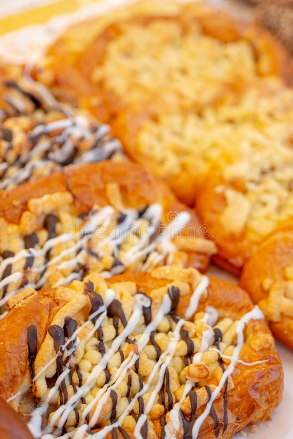 Fresh, delicious pastries. Confectionery products on the shop counter stock images