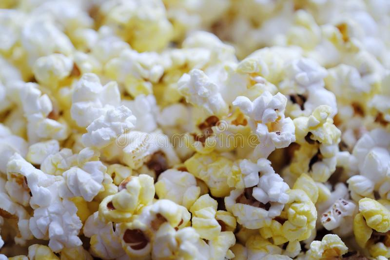Fresh delicious popcorn with cheese close up stock photo
