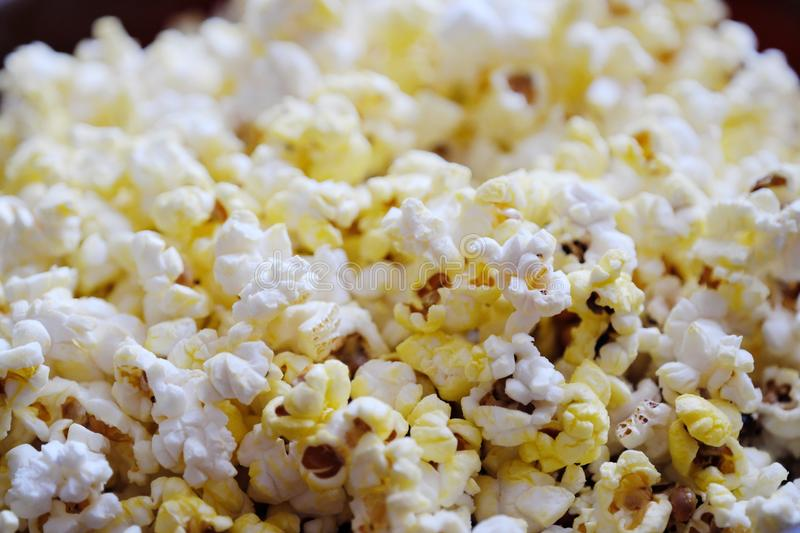Fresh delicious popcorn with cheese close up stock photos