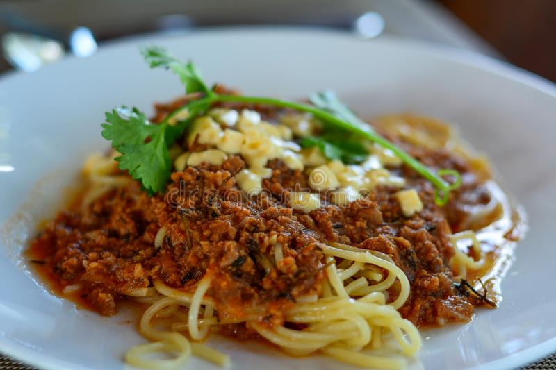 Fresh and delicious spagetti bolognese. For lunch at luxury restaurant royalty free stock image