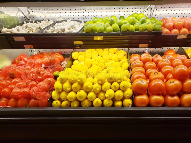Fresh vegetables and fruits in a supermarket stock image