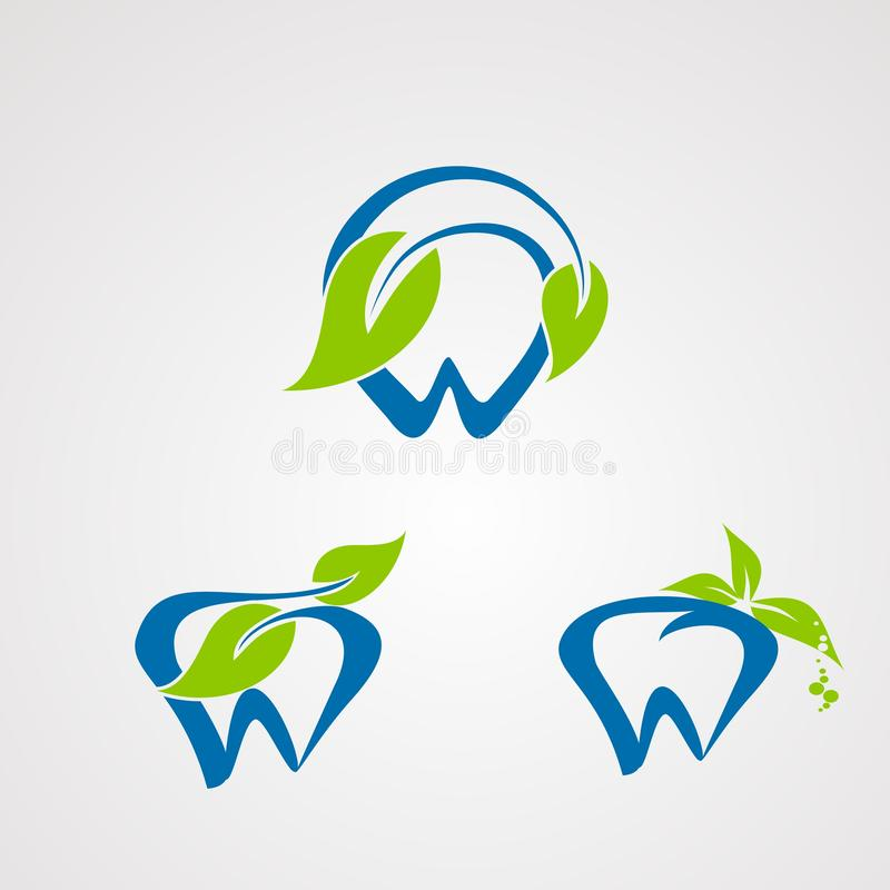 Fresh dentist logo vector with natural concept, icon, element, and template for company royalty free illustration