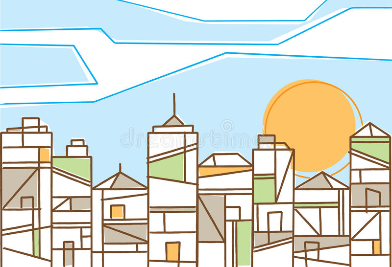 Fresh design of a contemporary city. In daylight under a bright sun with stylized skyscrapers and highrise buildings formed of geometric patterns stock illustration