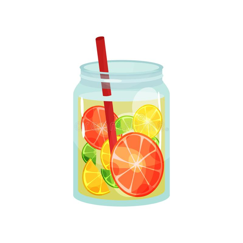 Fresh detox drink with slices of grapefruit, lemon and lime. Delicious and healthy cocktail. Natural beverage in glass vector illustration
