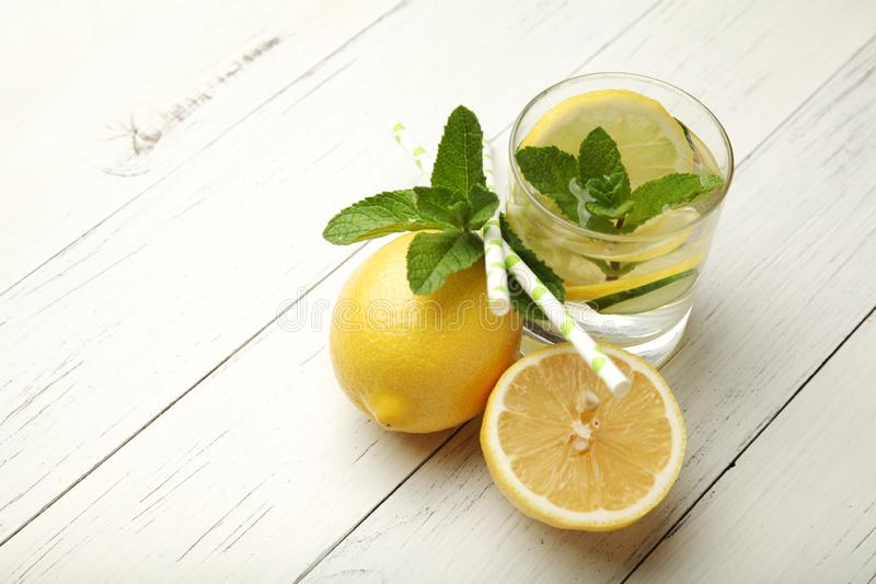 Fresh detox lemon water, healthy drink. Summer citrus lemonade.  stock photography