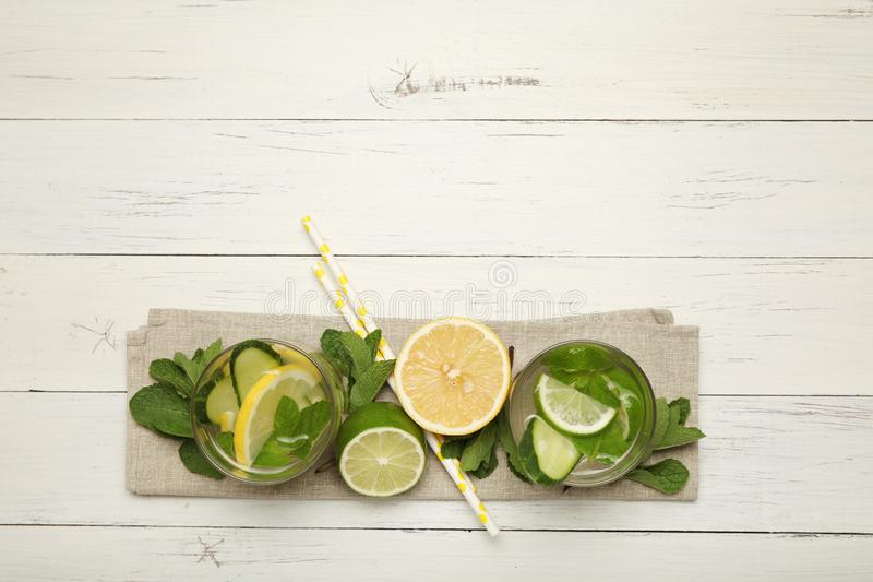 Fresh detox lemon water, healthy drink. Summer citrus lemonade.  stock photo