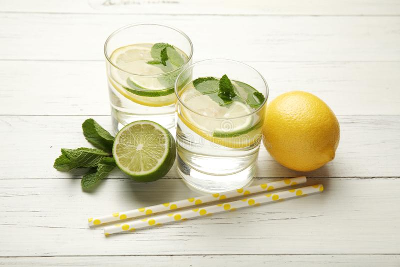 Fresh detox lemon water, healthy drink. Summer citrus lemonade.  stock image