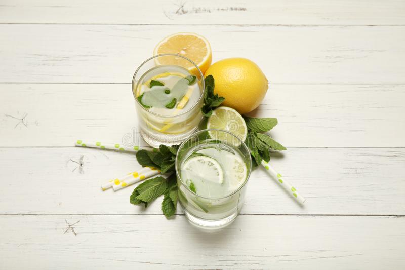Fresh detox lemon water, healthy drink. Summer citrus lemonade.  royalty free stock images