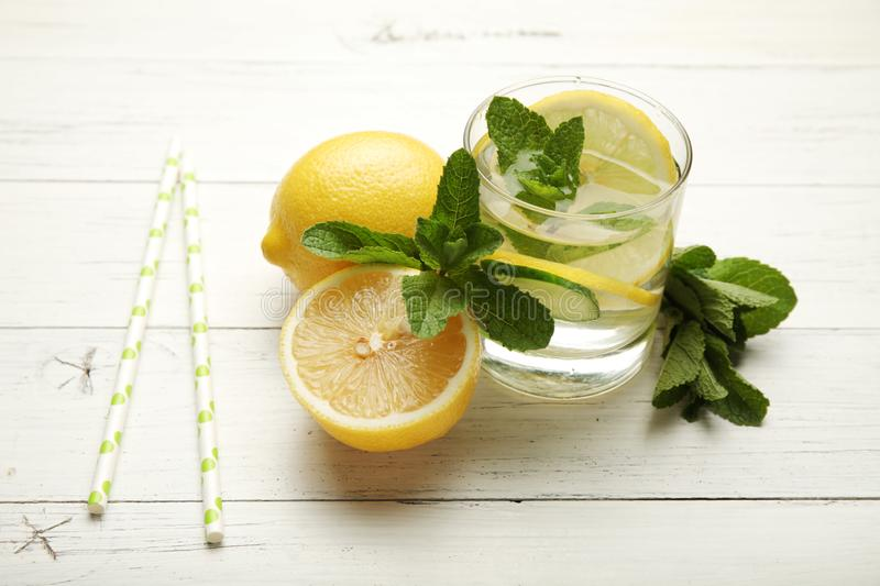 Fresh detox lemon water, healthy drink. Summer citrus lemonade.  royalty free stock image