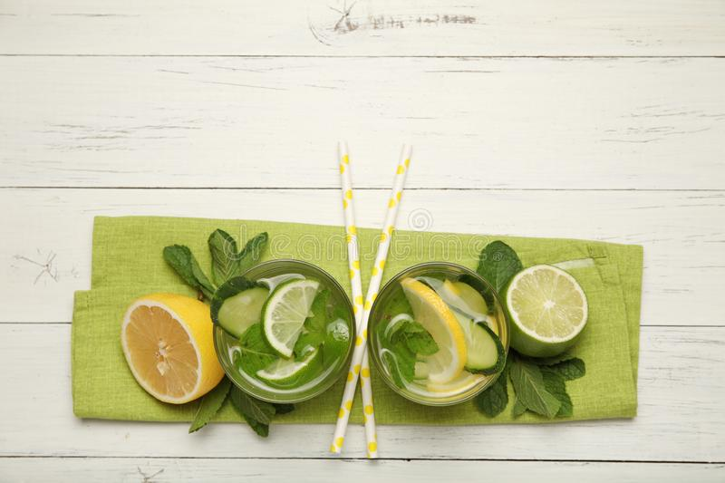 Fresh detox lemon water, healthy drink. Summer citrus lemonade.  royalty free stock photography
