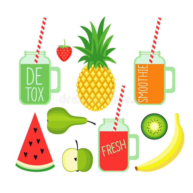 Fresh detox smoothies with strawberry, banana, pineapple, apple,pear, watermelon and kiwi. vector illustration