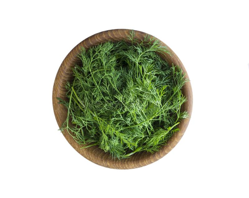 Fresh dill in wooden bowl isolated on white background. Top view. stock image