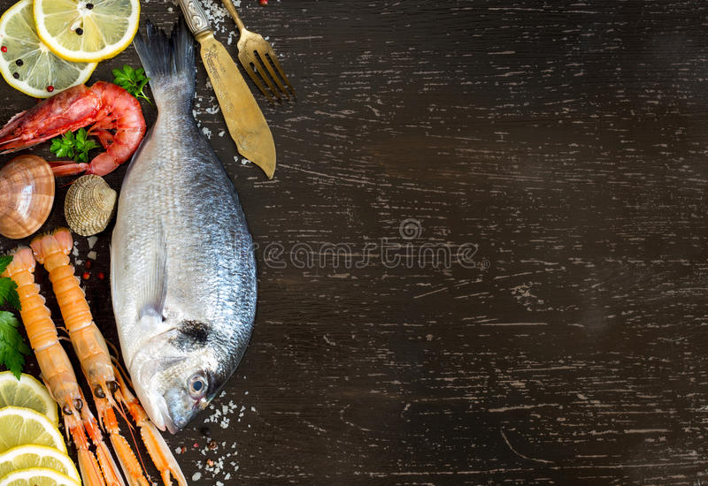 Fresh dorado fish and seafood stock photography