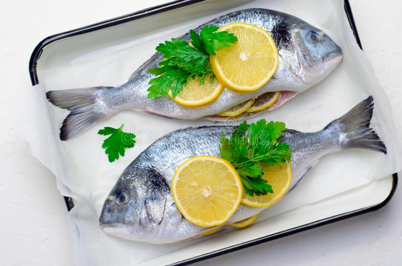 Fresh Dorado or Sea Bream with Lemon and Herbs, Raw Fish Ready to be Cooked, Top View. Fresh Dorado or Sea Bream with Lemon and Herbs, Fish in Baking Tray Ready royalty free stock image