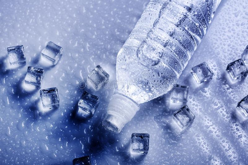 Fresh drinking water in plastic bottle stock photo