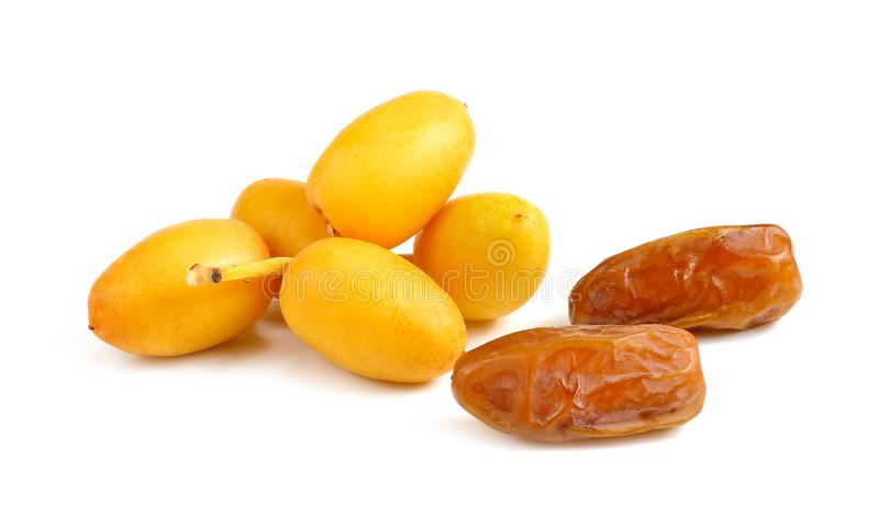 Fresh and dry date palm fruit on white background.  stock images