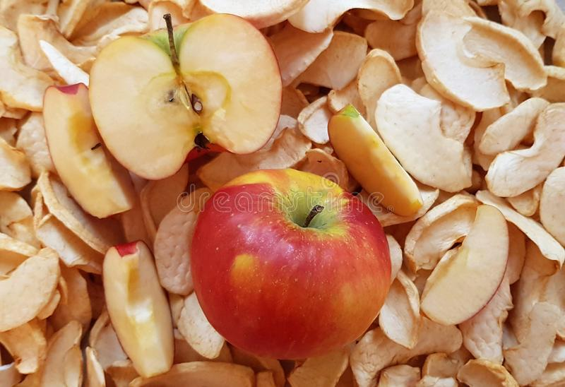 Fresh and dry slices of apples stock image
