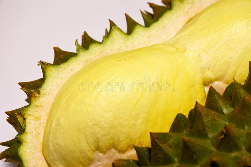 Fresh durian King of fruits. Durian peeled tropical fruit.  stock photo