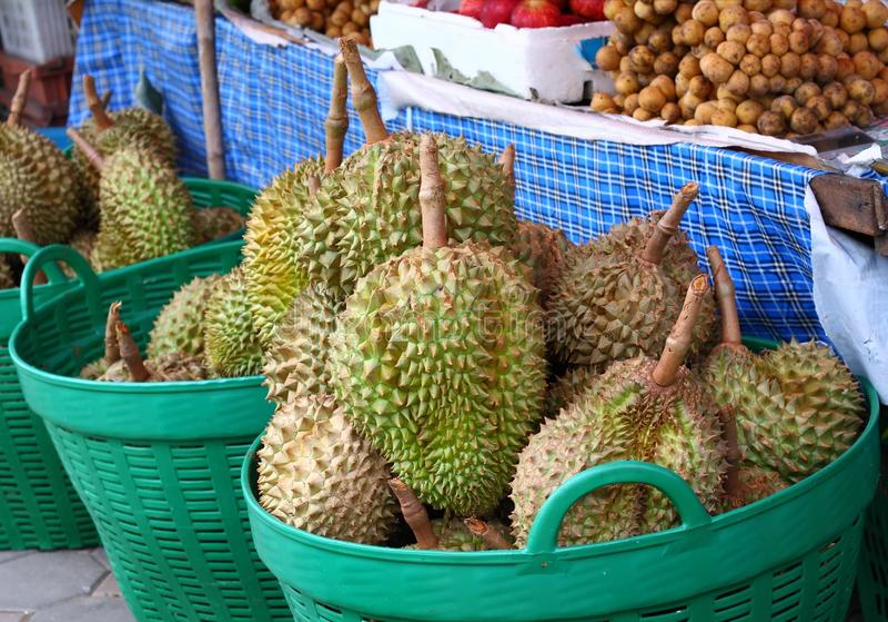 Fresh durian at street market. In bangkok, Thailand royalty free stock photo