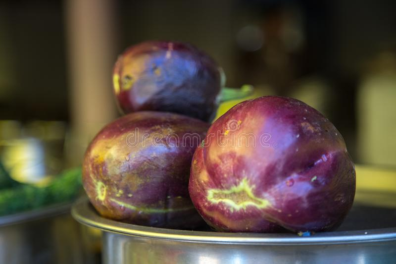 Fresh eggplant or aubergine bringal. Closeup of fresh eggplant or aubergine brinjal royalty free stock photo