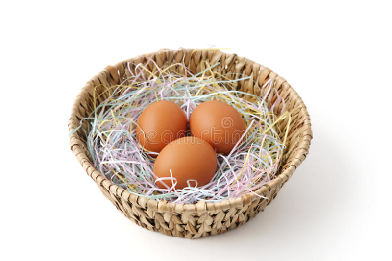 Fresh Eggs In The Basket Royalty Free Stock Images