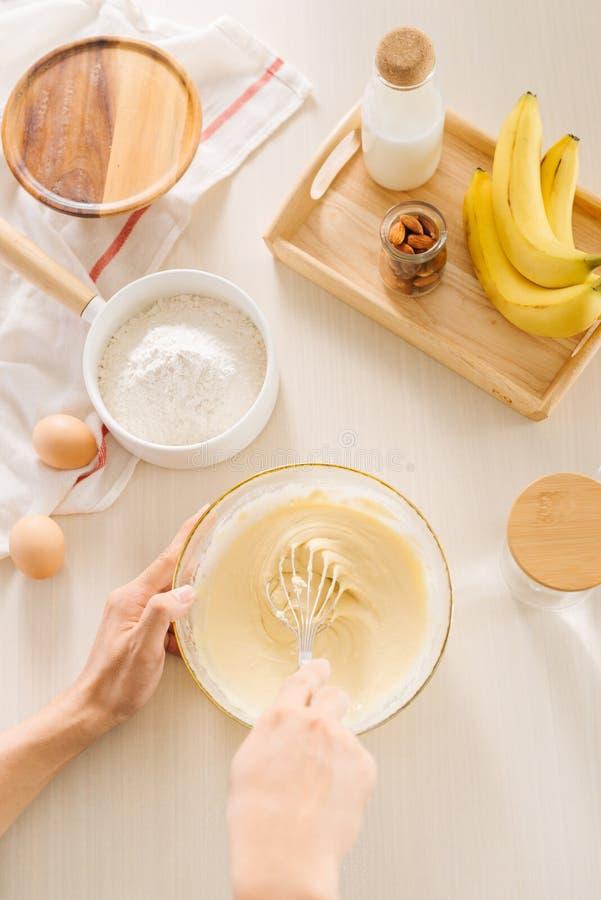 Fresh eggs milk and flour on white table royalty free stock photo