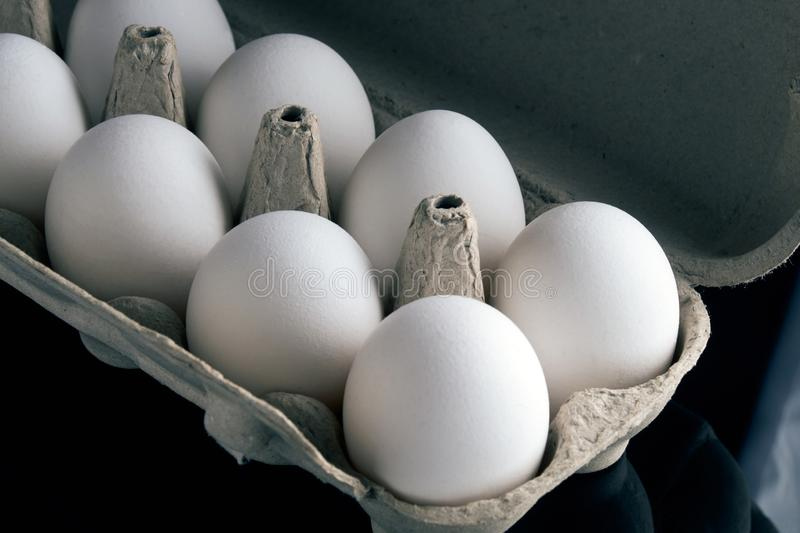 Fresh eggs in the opened box royalty free stock photography