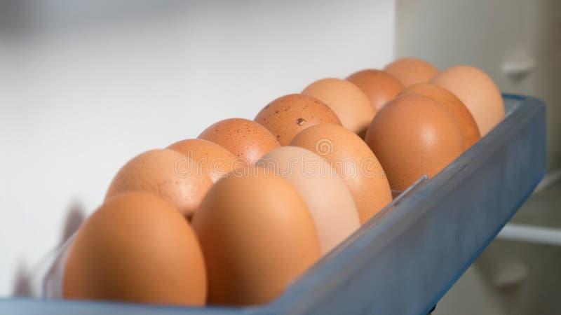 Fresh eggs in the refrigerator or fridge, closeup. stock photos