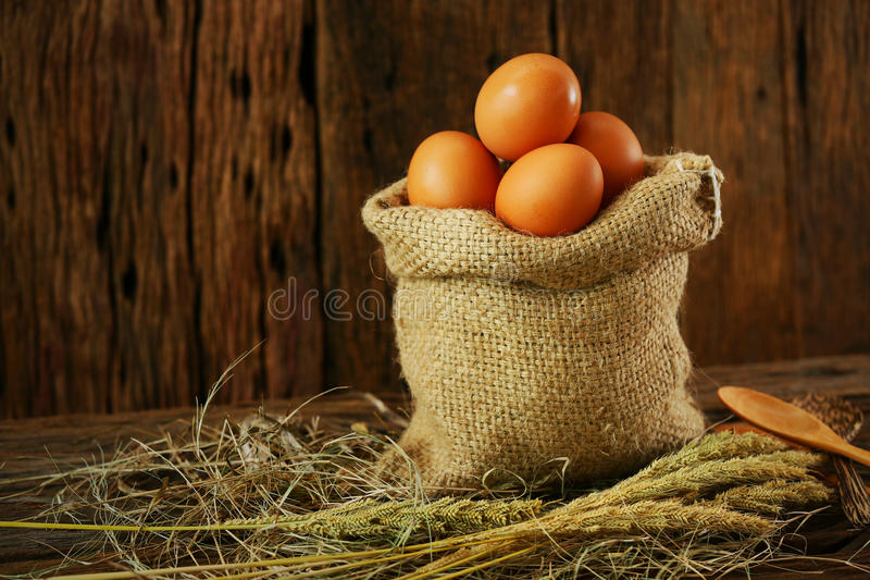 Fresh eggs on wooden background from farm and prepare for cook in kitchen room, Organic food and clean food for healthy. Eggs from farm to the market for raw stock photos