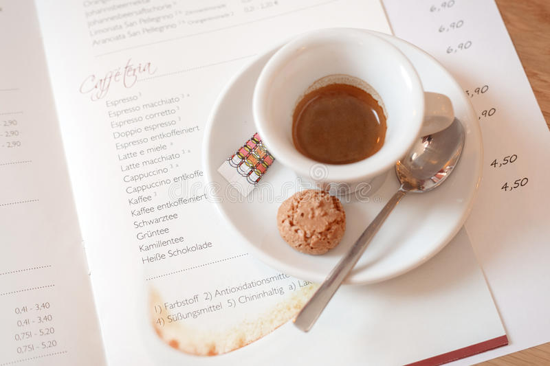 Fresh espresso cup. In pub bar stock photo