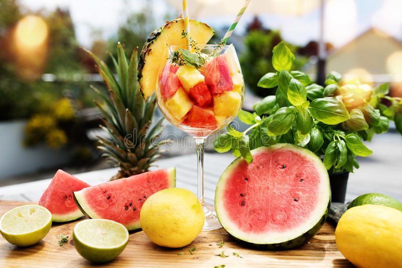 Fresh exotic fruit cocktail stock images