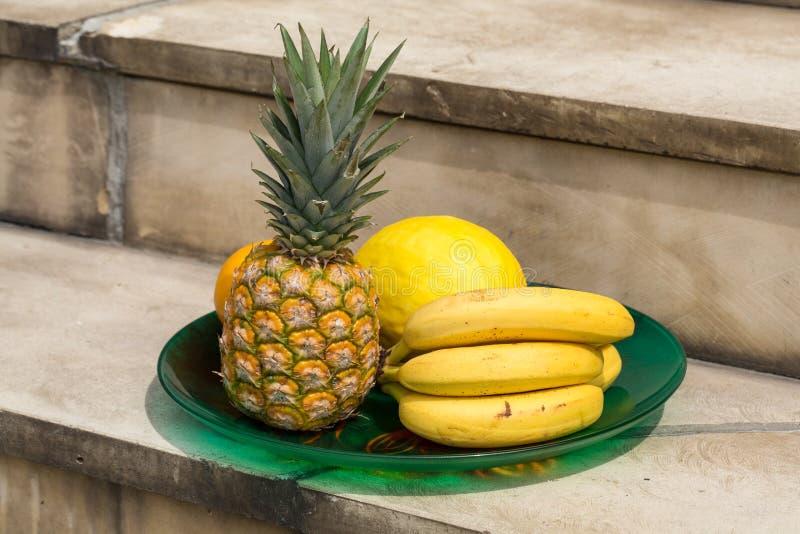 Fresh exotic fruits. Assortment of fresh exotic fruits royalty free stock photo
