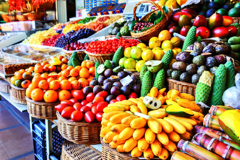 Fresh exotic fruits in Mercado Dos Lavradores. Funchal, Madeira. Island royalty free stock photo
