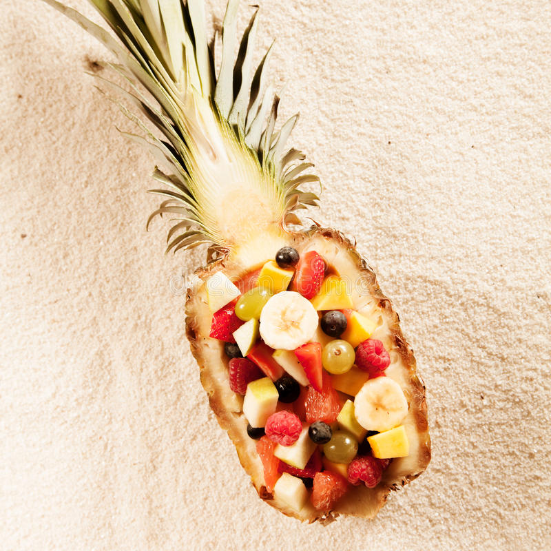 Fresh exotic tropical fruit salad stock images