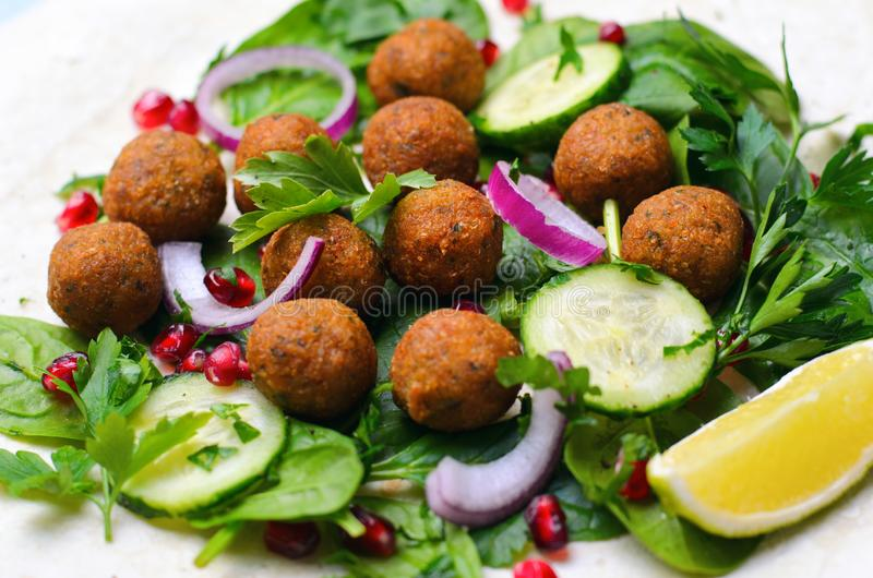 Fresh Falafel Wrap with Herbs and Vegetables, Vegetarian Meal royalty free stock image