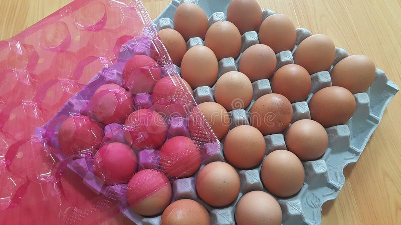Fresh farm chicken eggs in an egg-carton or egg holder placed in market for sale royalty free stock photos